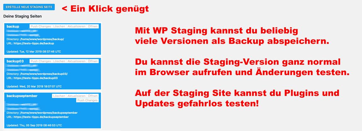 Backup Staging Sites Plug in