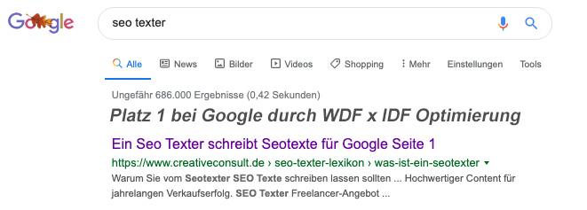 Google Platz 1 durch WDF*IDF-Optimierung