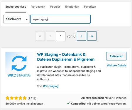 Wp Staging Plugin installieren