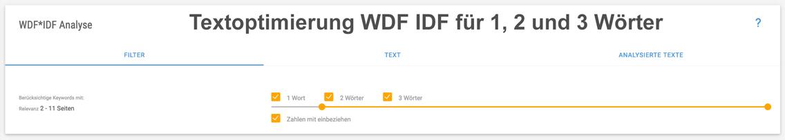 Chart WDF IDF Tool Longtail-Optimierung